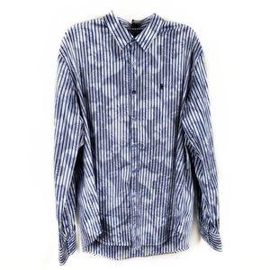 Desigual striped floral button front shirt XXL